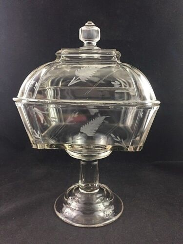 """EAPG Pressed Pattern Glass SCALLOP SHELL Pattern Large 12"""" Covered Compote 1880s"""