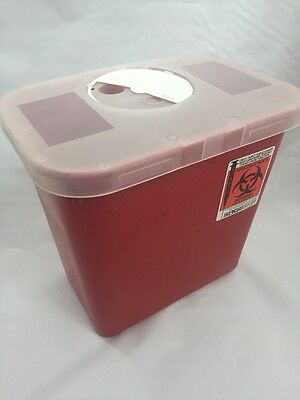 NEW LOT OF 6 SAGE Sharps Biohazard Container Red w/Clear Lid -