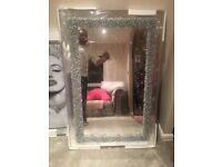 Mirror with hand finished crystal rock border brand new in box