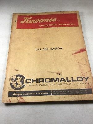 Kewanee 1025 Disk Harrow Owners Manual