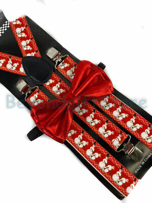 Christmas Bow Tie (Suspender and Bow Tie Adults Christmas Novelty Snowman Formal Wear)