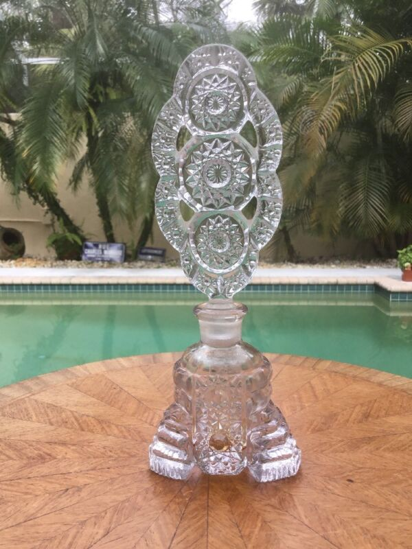 Perfume Bottle Large Antique Perfume Bottle Clear Art Deco  With Stopper