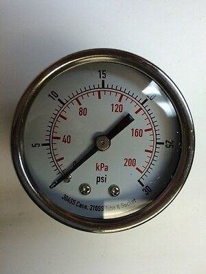 Dayton 2 Stainless Steel Pressure Gauge 4fmu7 0-30 Psi14 Nptback Connection