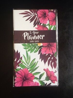 Pocket 2-year Calendar Planner 20182019 Organizer Appointment Book-pink Flowers