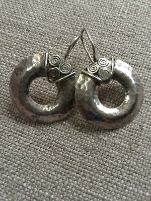 Artisan Hammered Sterling Silver 925 Circle Eternity Hoop Pierced EARRINGS Eternity Hoop Pierced Earrings