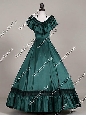 Victorian Edwardian Masquerade Gown Dress Theatrical Steampunk Clothing 127