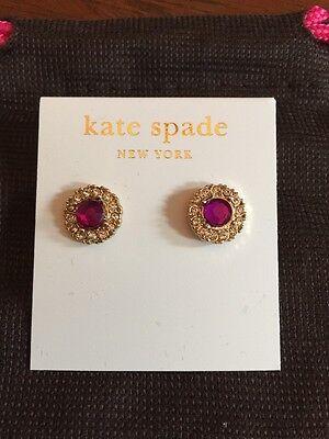 KATE SPADE~Gold Tone~Mini Rhinestones~Purple Rhinestone Pierced Earrings~NWT