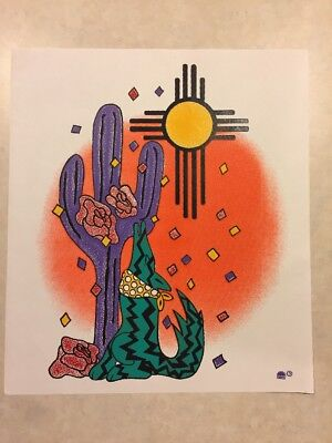 Vintage T-shirt Heat Transfer Southwestern Desert Scene Coyote Cactus Sun Rose