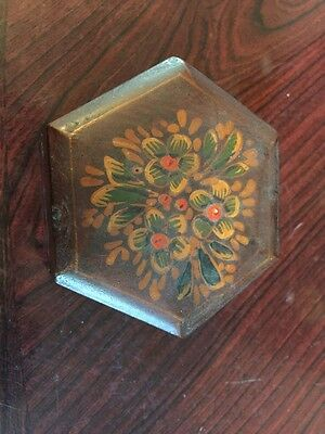 Brautiful Handpainted Vintage Wooden Hinged Tribket Box