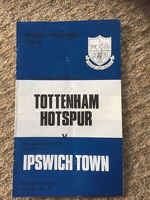 23rd February 1974 Tottenham H. v Ipswich Town Programme