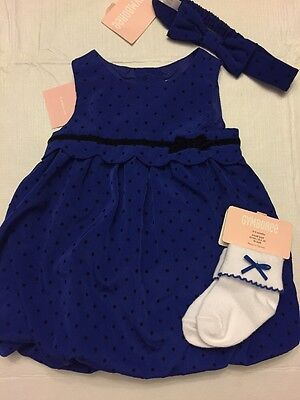 NWT Gymboree baby girl FALL blue dot bubble party DRESS socks SET 0 3 6 9 - Baby Blue Dot