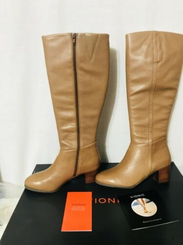 Vionic 324 Tahlia Womens Knee High Tall Leather Boots Brown