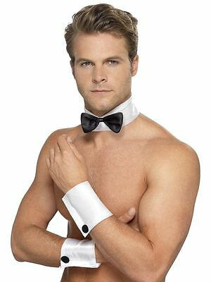 Bunny Costume For Men (MALE STRIPPER COSTUME SET COLLAR BOW TIE AND CUFFS PLAYBOY BUNNY CHIPPENDALE)