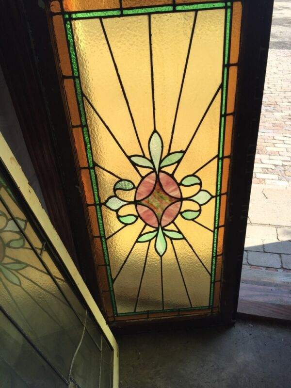 Sg 520 Antique Stainglass Window Transom Ray Of Sunshine