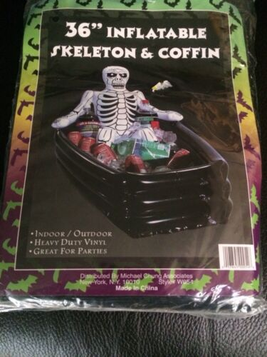 "Halloween 36"" Inflatable Skeleton & Coffin"