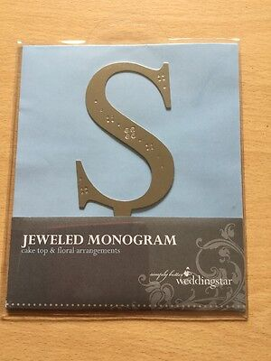 Weddingstar Jewelled Monogram Cake Topper Letter S Brushed Silver Metal