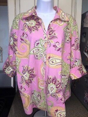 Quizz Woman's Plus Pink Paisley Button Down Shirt Short Sleeve Plus Size