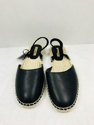 Zara Basic Womens Size Euro 42 US 11 Sling Back Espadrille Black Faux Leather