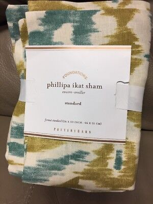 Ikat-sham (Pottery Barn Phillipa Ikat Sham Standard Blue Green New)
