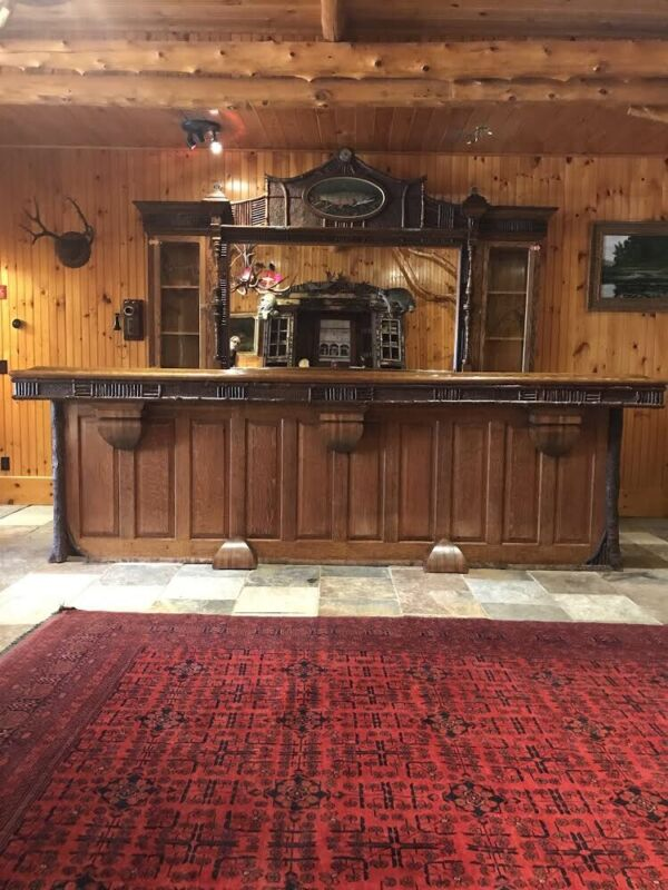 SPECTACULAR ANTIQUE (COMPLETE) QUARTER SAWN OAK FRONT AND BACK BAR.