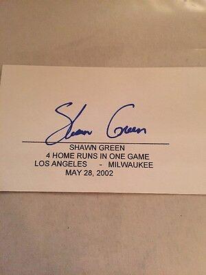 Shawn Green Dodgers Signed 3X5 4 Hr 2002 Index Card Autograph Unique