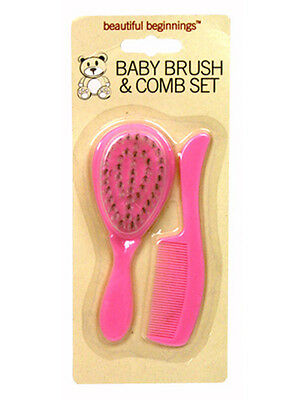 Beautiful Beginnings Baby Hair Brush and Comb Set Pink