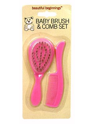 Beautiful Beginnings Baby Hair Brush and Comb Set Pink