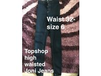 Top shop high waisted jeans- size 6