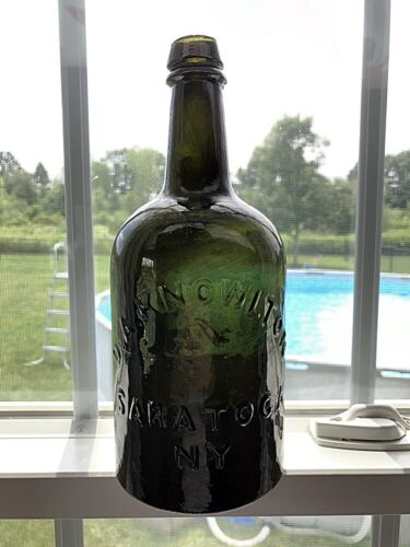 DARK OLIVE GREEN QUART MINERAL WATER BOTTLE - D. A. KNOWLTON SARATOGA NY SPRING