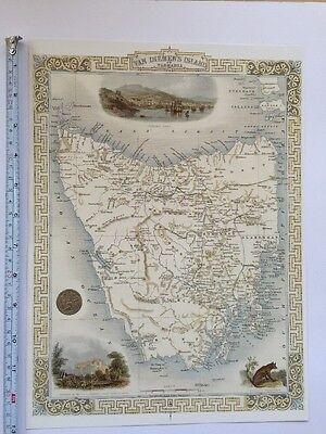 Antique vintage map 1800s: Van Diemen's Island: John Tallis 13 X 9 Reprint 1851c