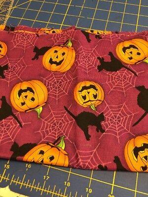 Bright Pumpkin Black Cat Fabric Cotton Free (Bright Pumpkin)