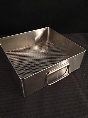 X Medin Stainless Steel Instrument Tray Basket Whandles 10.5x10x3.5 Good Cond.