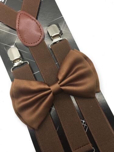 Dark Brown Suspender + Clip On Bow-tie Matching Set For Adults Men Women