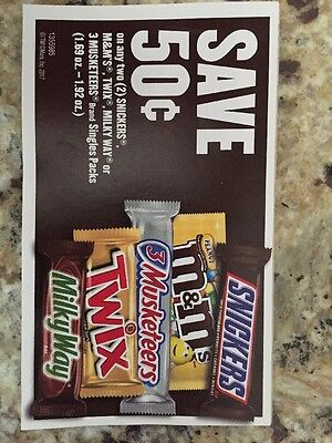 Snickers, Twix, Or M&M Coupons (20) Expire 6/30/17!