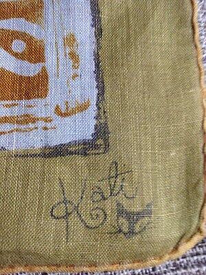 Vintage Handkerchief Signed KATI Cat Hand Rolled Edge Hanky Hankie cute as eva