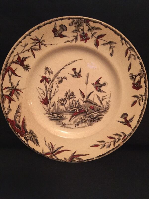 ANTIQUE RIDGEWAY SPARKS & RIDGEWAY INDUS ASIAN PLATTER CA 1877  BIRD