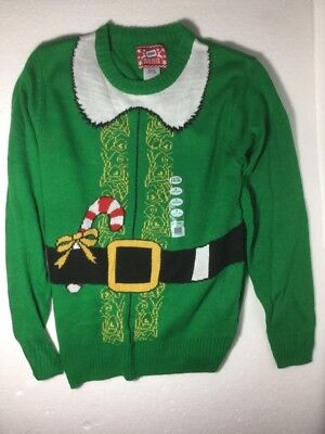 Santas Helper Elf Long Sleeve Christmas Ugly Sweater Young Adult Mens Small Sm S