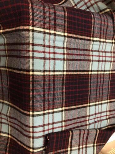 "Vintage Wool Plaid Fabric 35x54"""