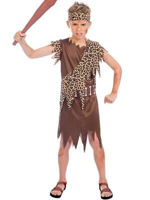 Boys Caveboy Fancy Dress Costume Cave Stone Age Kids Tarzan Jungle 4-12 Years