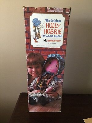 "HOLLY HOBBIE Large Cloth Rag Doll 27"" Knickerbocker - With Box Look"