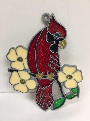 Flowers Suncatcher - Red Cardinal w/ Flowers Suncatcher Ornament Vintage NOS