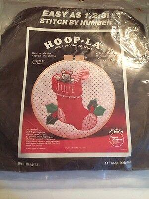 Vintage 1982  HOOP-LA kit appliqued wall hanging Stocking Name Christmas 14 inch