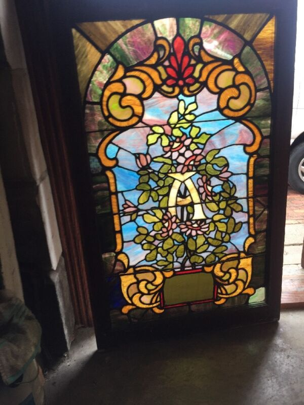 Sg 1419 Antique Floral Stainglass Landing Window 28 X 45. 5H