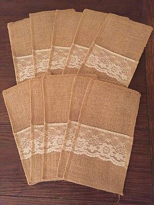 10 Piece Rustic Vintage Country Burlap Wedding Utensil Holder Cutlery Bags - Burlap Utensil Holder