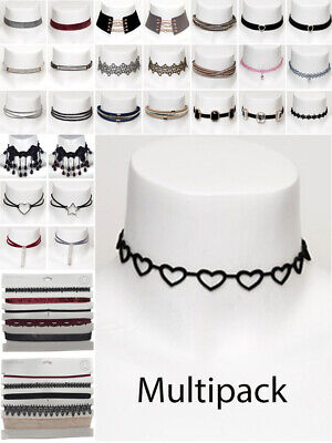 Jewellery - Womens Choker Multi Pack Black Velvet Crystal Necklace Fashion Jewellery New
