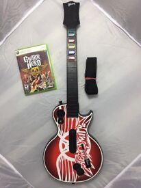 Xbox 360 Guitar Hero Aerosmith Gibson Wireless Guitar, strap and with Aerosmith Guitar Hero Game