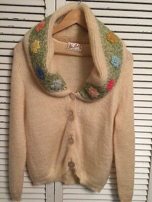 Vintage 1950's Nan Martell Miami Beach Embroidered Angora Cardigan Sweater Med