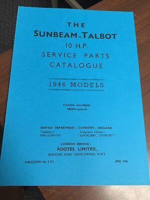 SUNBEAM TALBOT 10 H.P. TEN 1946 MODELS PARTS MANUAL