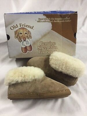 (Old Friend Footwear kids Bootie Slipper Baby/Toddlers sheep skin, Brown,Size C1)