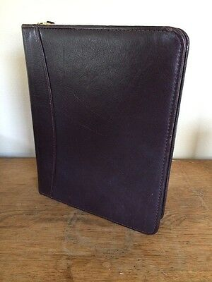 Franklin Covey Classic 7-ring Binder 1.5 Rings Brown Leather Vtg Zip Planner